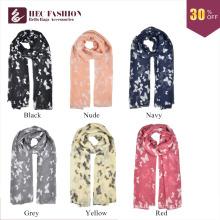 Bufanda impresa etiqueta de la gasa del patrón de mariposa del buen precio de HEC para el mercado de Dubai