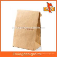 Blanc / marron taille personnalisée promotionnelle fond plat paquet de gousset côté style pour thé / café
