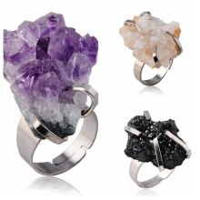 Natural Drusy Crystal Gemstone Women Rings