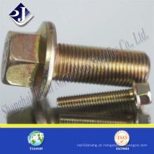 Parafuso de flange chapeado zinco amarelo do aço de carbono (DIN6921)
