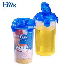 botella clara de la salsa plástica de la categoría alimenticia del diseño de la compañía con la tapa