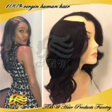 2014 autumn new style brazilian human hair wavy u part wig