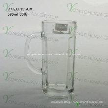 2015 Copo de cerveja de vidro agradável com punho 500ml