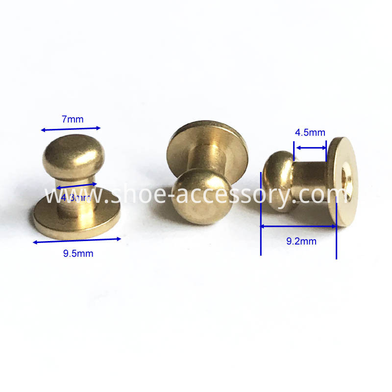 Solid Brass Leather Studs Buttons Cap Rivets 7x9.5x9.2mm