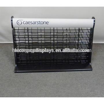 Kundenspezifische Werbe-Quarz Stein Showroom Tischplatte Metall Draht 48 Stück Fliesen Display Tower