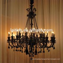 Large black hanging crystal chandelier for hotel 85543