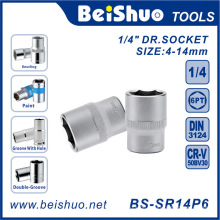 "6 Punkt 1/4 ""Laufwerk Shallow Socket mit Matt / Mirror Finished"