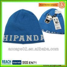 Azul Diseño personalizado jacquard de moda de acrílico beanie BN-2007