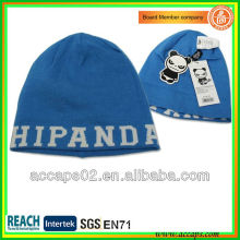Blue Custom design fashionable jacquard acrylic beanie BN-2007