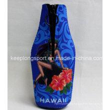Sublimación de neopreno botella de refrigeración de la botella con cremallera, refrigerador de la botella, refrigerador de la cerveza.