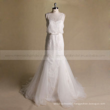 Latest model Round neck mermaid delicate beads flowers party wedding dress