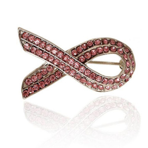 Crystal Pink Ribbon Broches Sash Pins