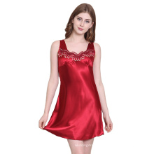 Summer silk sexy nightgown ladies summer lace sleeveless loose size pajamas