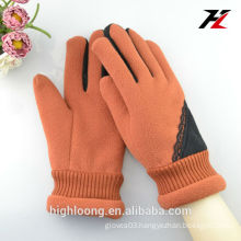 Orange Fleece Gloves with Lace