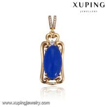 32920 Joyería de la muchacha noble de la venta caliente diseño simple forma ovalada colgante de piedras preciosas de imitación de colores