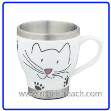Taza de café cerámica de pared doble (R-3065)