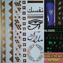 OEM Las marcas de fábrica al por mayor de la manera resplandecen en la etiqueta engomada oscura de los tatuajes temporales para los adultos GLIS004