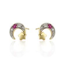 97304 Xuping bijoux Designs simples étoiles et boucles d'oreilles en forme de croissant