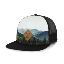 sublimation snapback hat PU patch with debossed logo