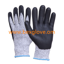 Nitrile Coating, Micro-Foam Finish, Cut Resistance, Dots on Palm Work Glove
