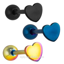 Heart Top Anodized Steel Barbell Tongue Piercing