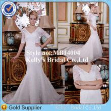Deep V Neck 3/4 Vestidos de casamento de sereia de manga comprida Bonitos vestidos de casamento clássicos com trem de renda longa