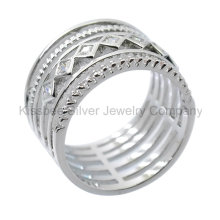 925 silberner Schmucksache-Art- und Weiseschmucksachen, eingelegter Ring (KR3099)
