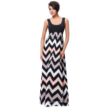 Kate Kasin mujeres sin mangas de alto contraste elástico color de la onda de rayas largas maxi vestido KK000237-1