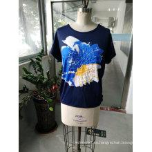 Ropa de la camiseta de las mujeres del algodón flojo de la última moda del verano