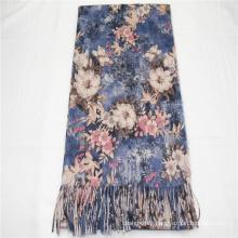 Special design flower pattern print long scarf  fringe on two side super soft hand feeling