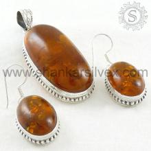 Винтажный Янтарный драгоценный камень серебряный комплект ювелирных изделий 925 стерлингового серебра ювелирные изделия оптом ювелирные изделия