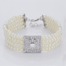Multi Layer White Faux Pearl Armband