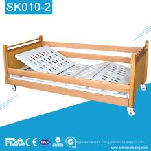 SK010-2 Lit manuel de soins à domicile en bois de l'hôpital