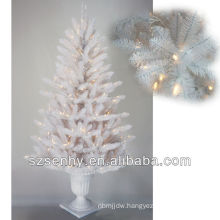 2013 white outdoor lighted Christmas tree