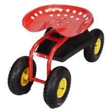 Chariot de travail de jardin en métal de quatre roues en métal