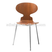 2017 Restaurant Furniture Type wooden dinning chair with backrest and chrome legs