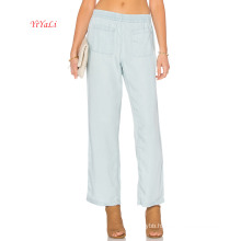 Straight Leg Tencel Pants with Pocket