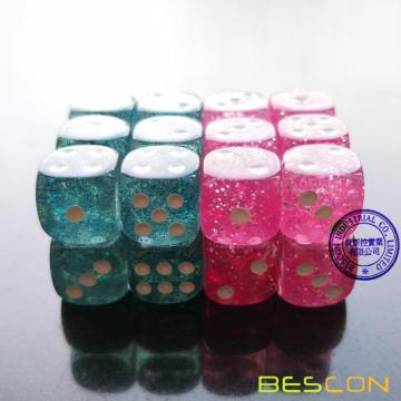 Bescon Ethereal Glitter 12mm 6 Sided Game Dice Set of 24pcs in Velvet drawstring Pouch, Pink and Teal (12pcs of each color)