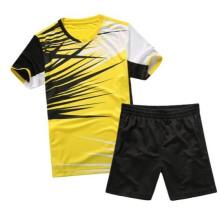 2014 नए डिजाइन पुरुष बैडमिंटन टी शर्ट सस्ते बैडमिंटन बैडमिंटन थोक वस्त्र पहनना
