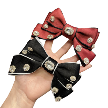 New Fabric Rhinestone Solid Big Hair Barrettes Bow Knot Fashion Accessories Hairpin Korean Luxury Spring Clip
