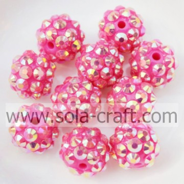 Rose AB Acrylic Resin Rhinestones Solid Ball Beads 10*12MM