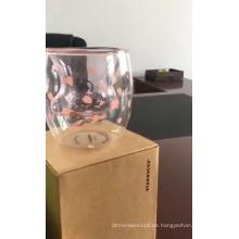 La aduana de la fábrica vende al por mayor la taza de café de cristal doble del gato