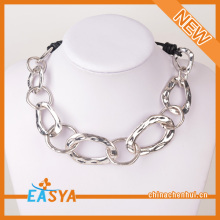 Zero Shaped Necklaces Link Chain Leather Handmade