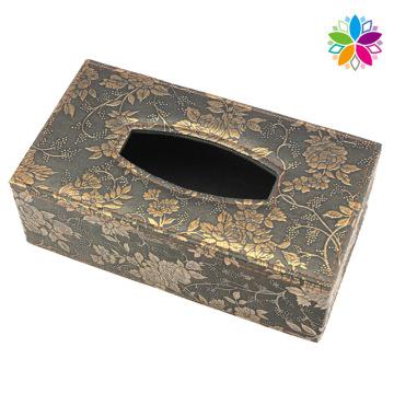 Caixa de tecido de couro de design de flores (ZJH078)