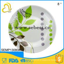 Duas placas de melamina de tom, impressão de desenhos de folha, padrão FDA