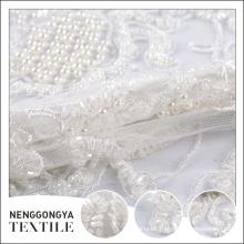 Oem moda mano cordón perla con cuentas nupcial velo tul tela
