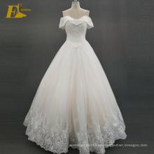 ED nupcial elegante hombro de encaje de espalda de cuentas de Alibaba vestido de novia 2017