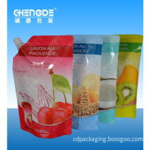 shampoo packaging pouch with reusable spout