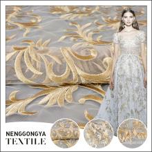 Top qualidade bela foma bordado tecido de tule de design para o vestido de noiva rendas