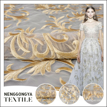 Высокое качество красивая фомку дизайн тюль вышивка ткани для свадебное платье кружева